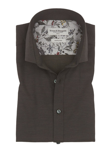 BRUUN & STENGADE Olive Herringbone Slim Fit Shirt