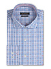 BUGATCHI UOMO Modern Fit Blue Check Orange Dobby Shirt