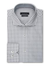BUGATCHI UOMO Classic Fit White With Black Squares Shirt