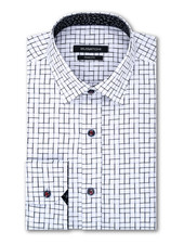 BUGATCHI UOMO Modern Fit White with Black Block Pattern Shirt