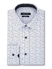 BUGATCHI UOMO Shaped Fit White with Black Block Pattern Shirt
