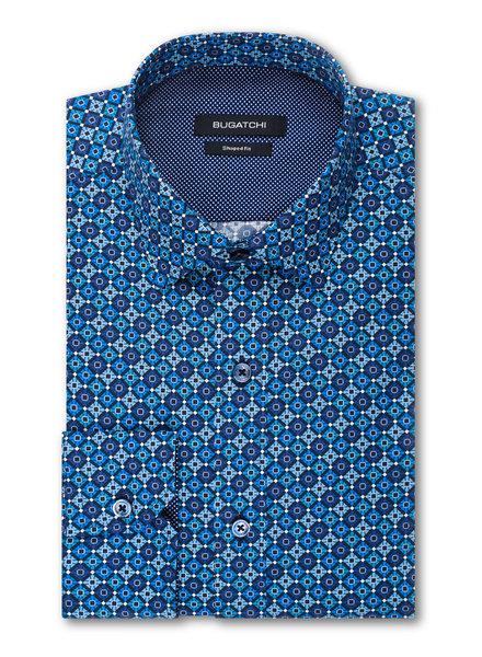BUGATCHI UOMO Modern Fit Multi Blues Diamond Print Shirt