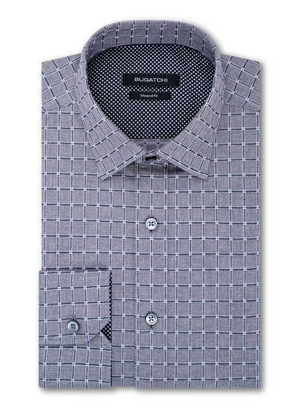 BUGATCHI UOMO Modern Fit Grey with Charcoal Block Shirt