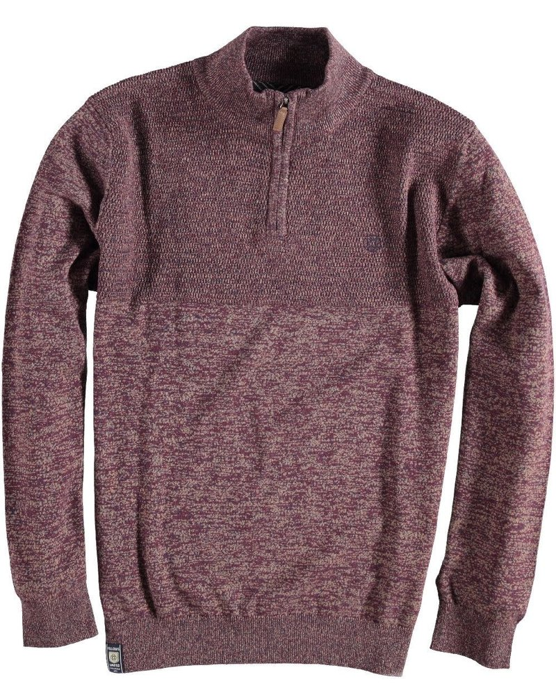 FELLOWS UNITED Burgundy Brown Mix Pullover 1/4 Zip Mock Sweater