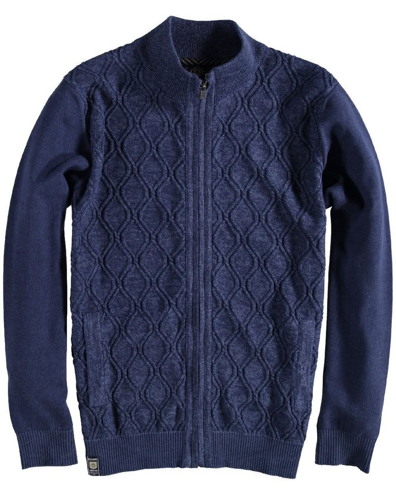 FELLOWS UNITED Blue Cardigan Cable Knit Full Zip Sweater