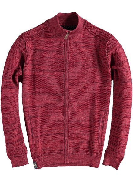 FELLOWS UNITED Red Cardigan Honeycomb Full Zip Sweater