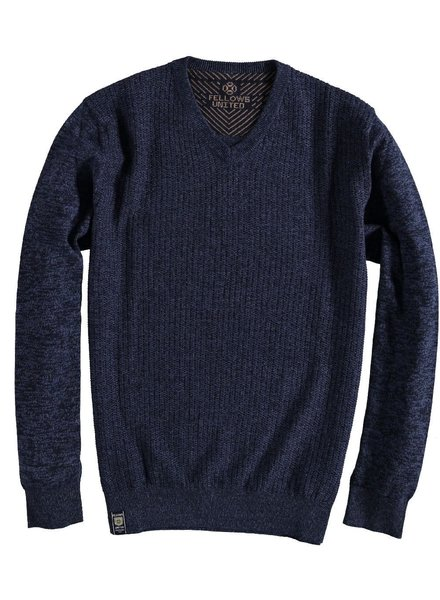 FELLOWS UNITED Navy Melange V-Neck Sweater