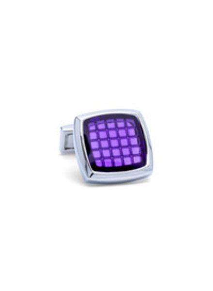 BUGATCHI UOMO Silver with Purple Square Face Cufflinks