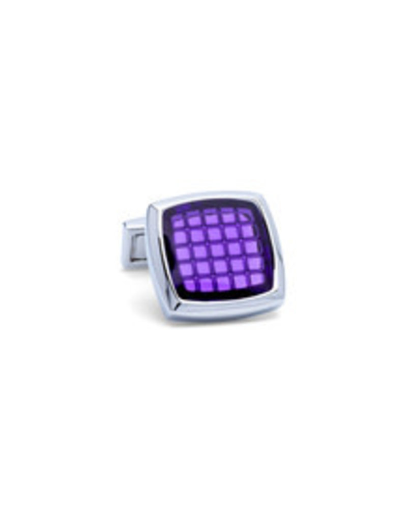 BUGATCHI UOMO Silver with Purple Square Face Cufflinks