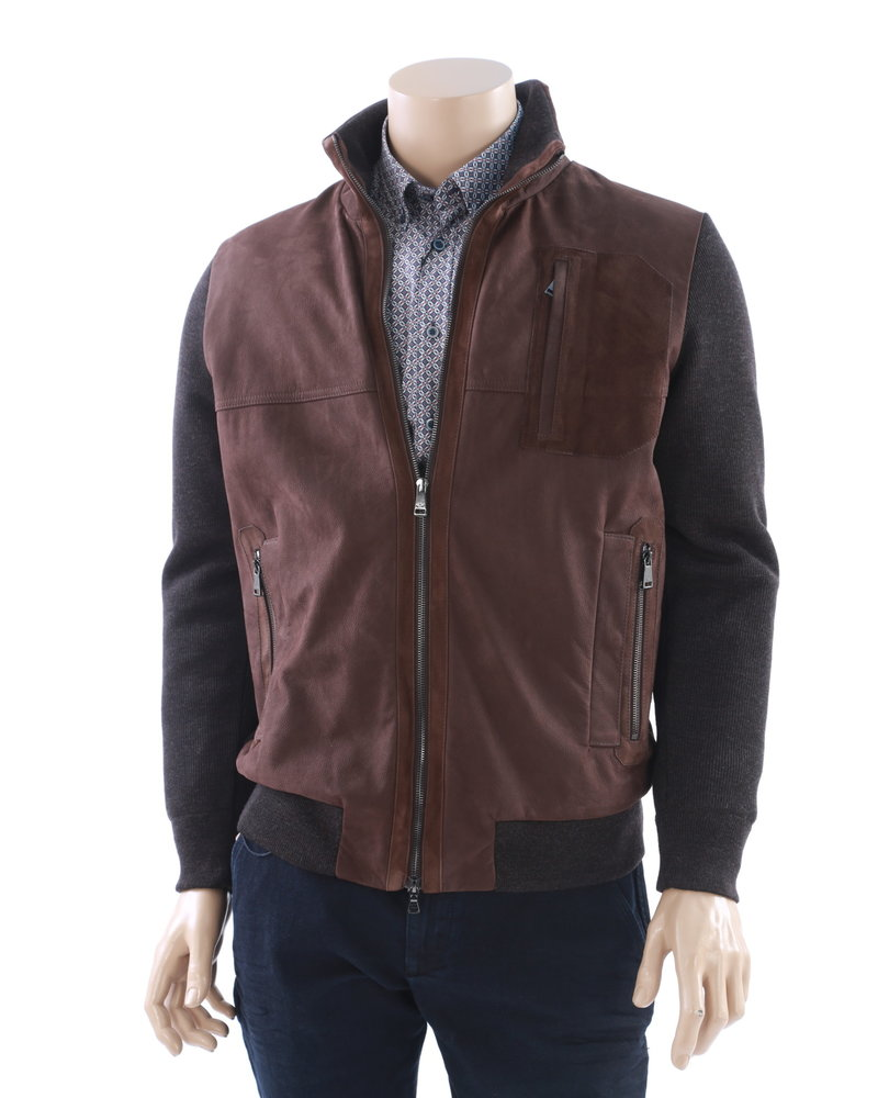 PAUL & SHARK Brown Leather Front Sweater Coat