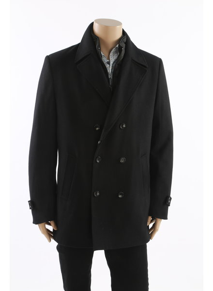 LIEF HORSENS Black Wool Blend DB Winter Coat Black