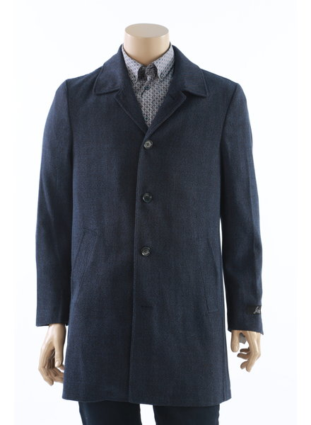SUITOR Blue Herringbone Overcoat