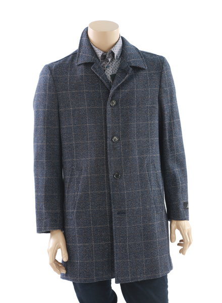 SUITOR Blue & Brown Windowpane Overcoat
