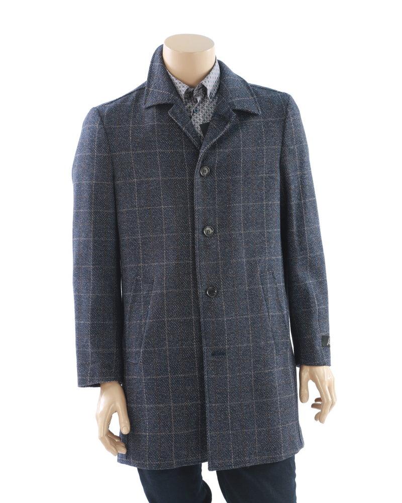 SUITOR Blue & Brown Windowpane Overcoat