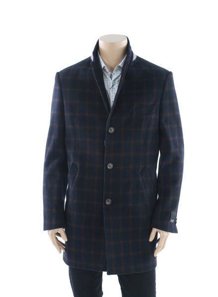WEATHER REPORT Navy & Brown Windowpane Overcoat Ducati