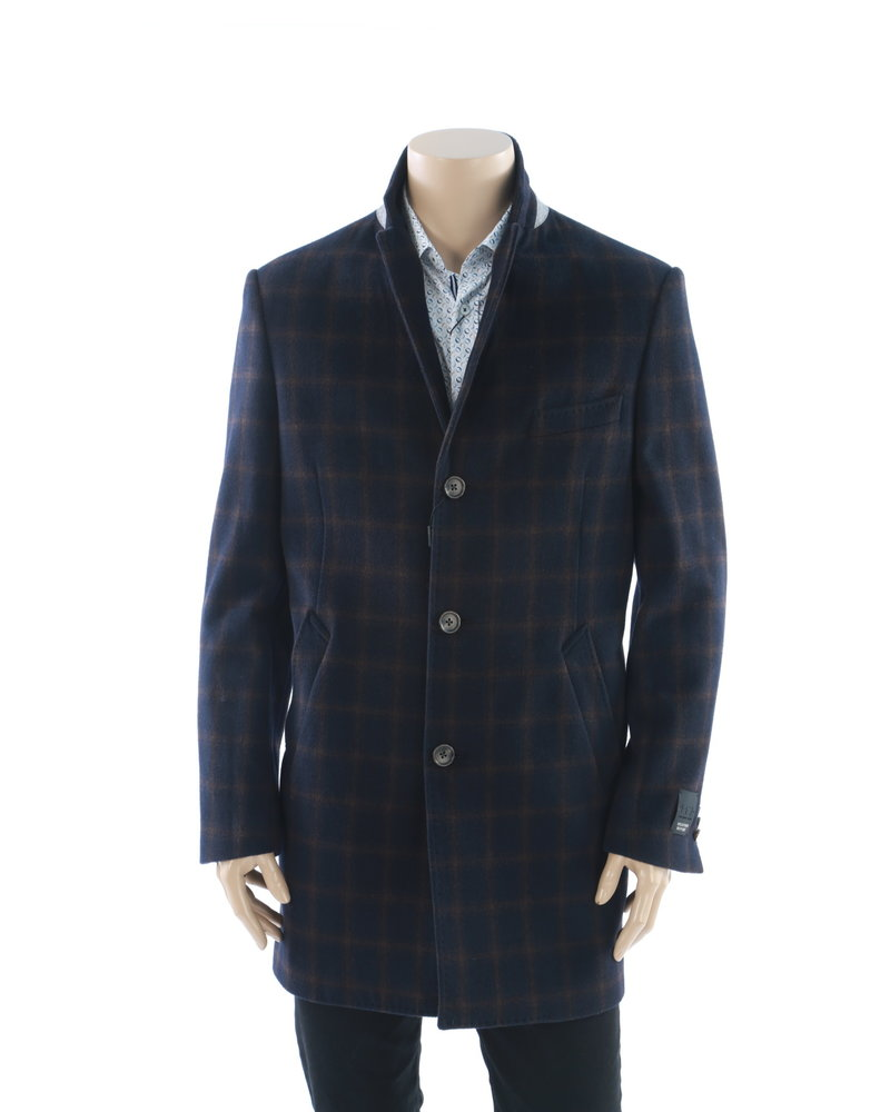 WEATHER REPORT Modern Fit Navy & Brown Windowpane Overcoat