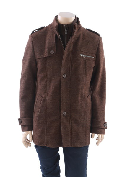 LIEF HORSENS Wool Blend Winter Coat Cognac