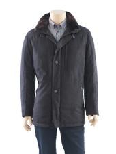 BUGATTI Black Herringbone with Faux Fur Collar Casual Coat