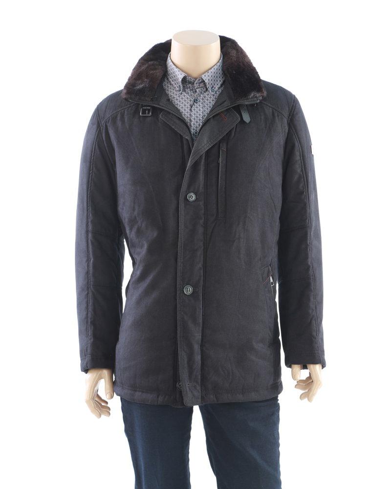 BUGATTI Black Herringbone with Faux Fur Collar