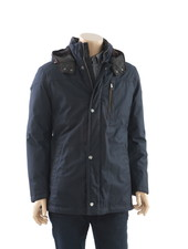 BUGATTI Navy Herringbone with Faux Fur Hood Casual Coat