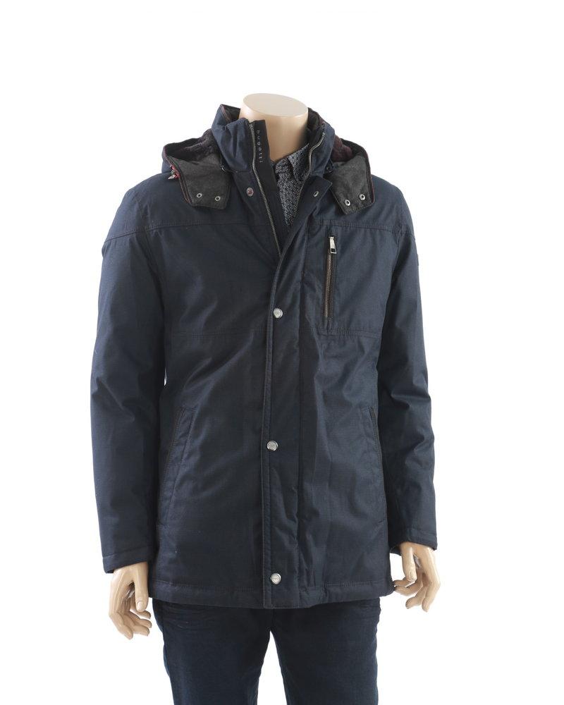 BUGATTI Navy Herringbone with Faux Fur Hood Casual Coat