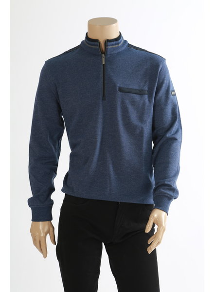 BUGATTI Cotton 1/4 Zip with Grey Piping