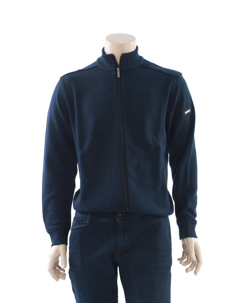 BUGATTI Navy Cotton Full Zip with Black Piping
