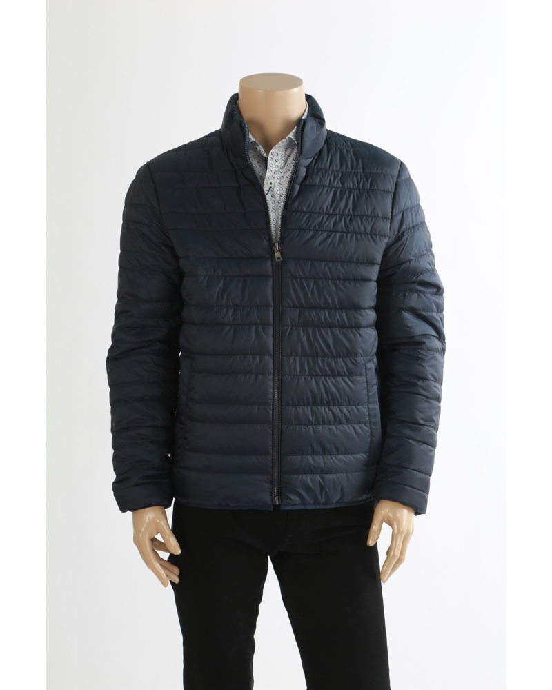 MICHAEL KORS Navy Poly Filler Puffer Jacket Reversible Casual Coat