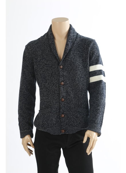 BENSON Navy & Grey Heather Wool Cashmere Shawl Cardigan