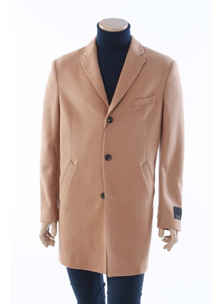 WEATHER REPORT Modern Fit Camel Wool Overcoat