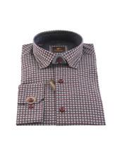 ESSERE Modern Fit Wine Square Pattern Shirt