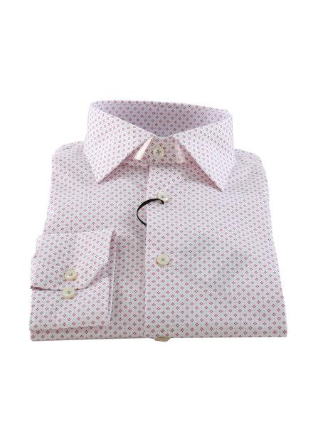 LIPSON Modern Fit Red Diamonds & Blue Dots Shirt