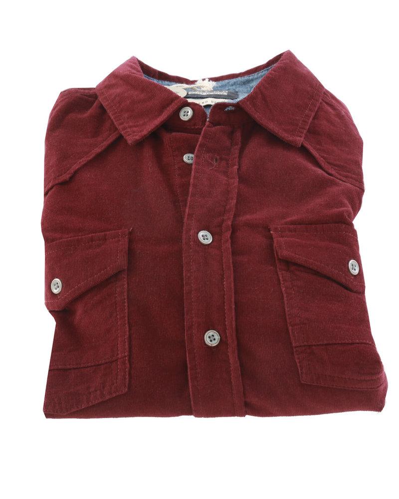 BLEND Slim Fit Burgundy Corduroy Shirt