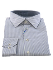 LIPSON Modern Fit White With Navy Stripe