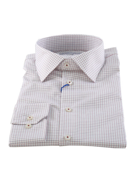 LIPSON Modern Fit White With Red Blue Block Shirt