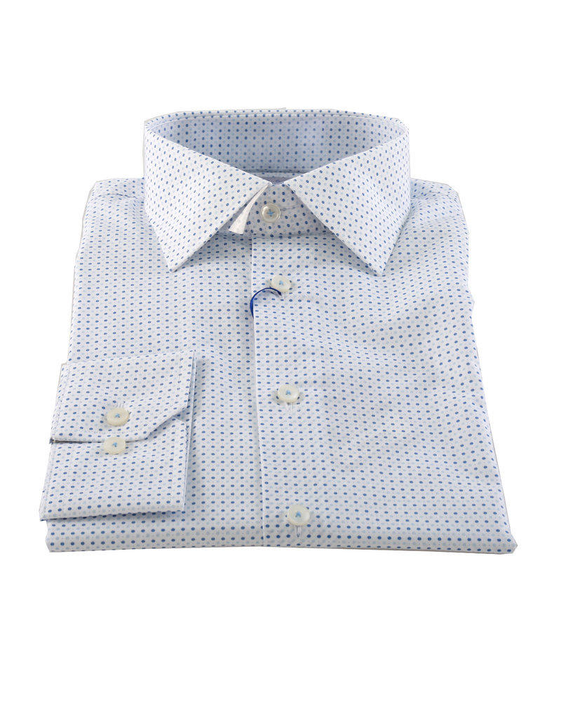 LIPSON Modern Fit White with Blue Dots Shirt