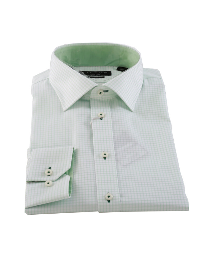 LIPSON Modern Fit Easy Care Green Check Shirt