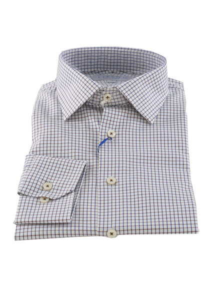 LIPSON Contemporary Fit Blue & Brown Tattersall Check