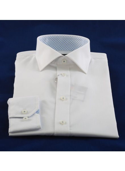 LIPSON Modern Fit White with Light Blue Trim Shirt
