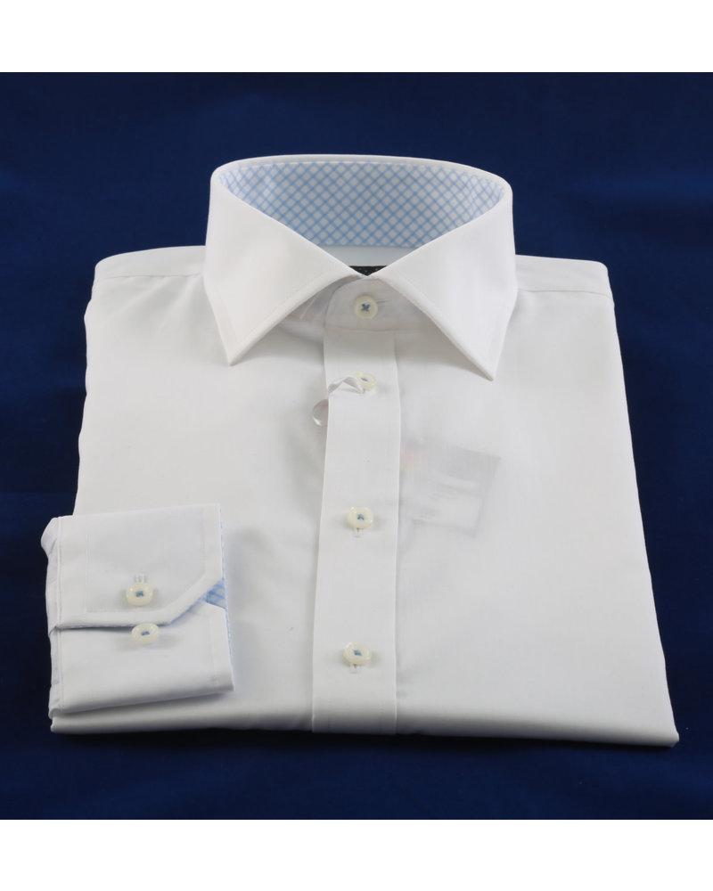 LIPSON Modern Fit White with Light Blue Trim Shirt