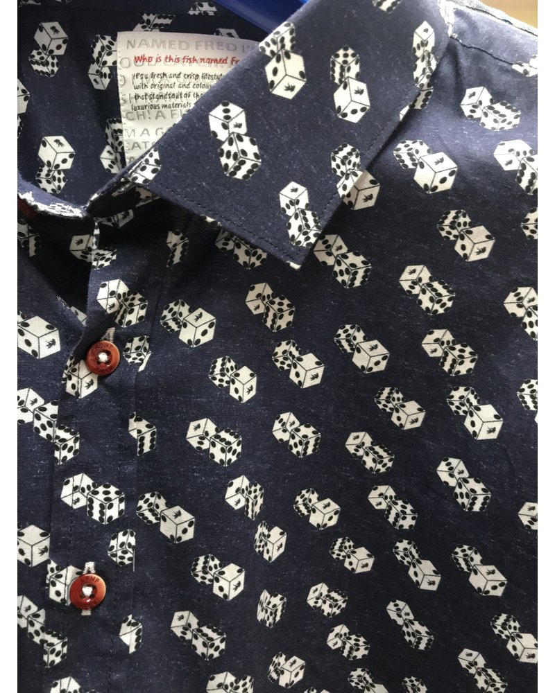 A FISH NAMED FRED Modern Fit Blue Dice Print Shirt