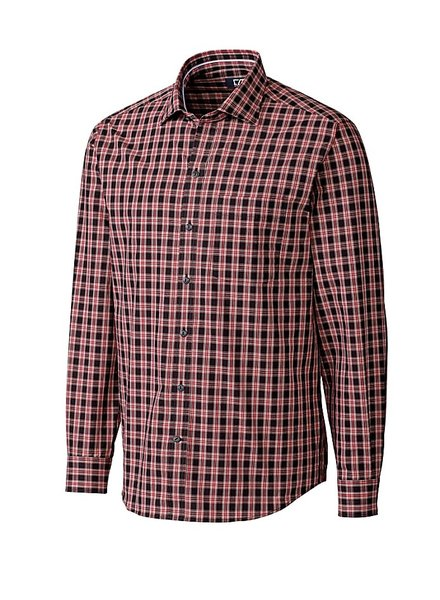 CUTTER & BUCK Classic Fit Red & Black Harris Plaid Shirt