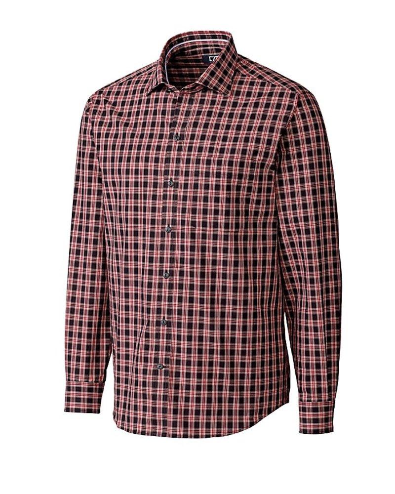 CUTTER & BUCK Classic Fit Red & Black Harris Plaid Shirt