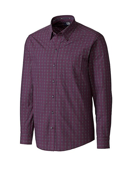 CUTTER & BUCK Classic Fit Purple Orchard Jacquard Check Shirt