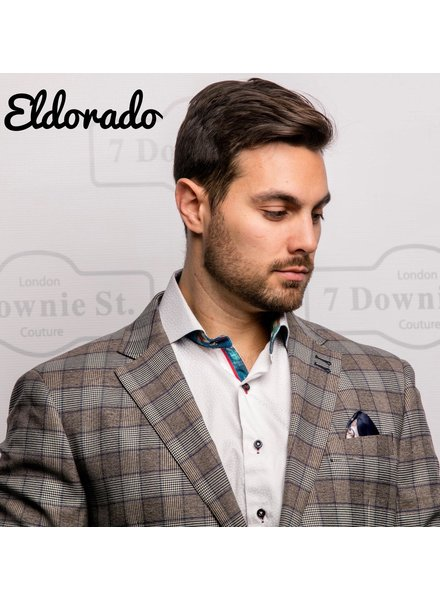 7 DOWNIE Modern Fit Taupe & Navy Plaid Sport Coat
