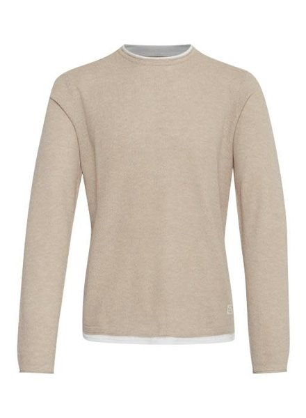 BLEND Solid Knitted Double Collar Pullover