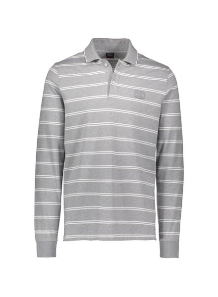 PAUL & SHARK Grey and White L/S Polo
