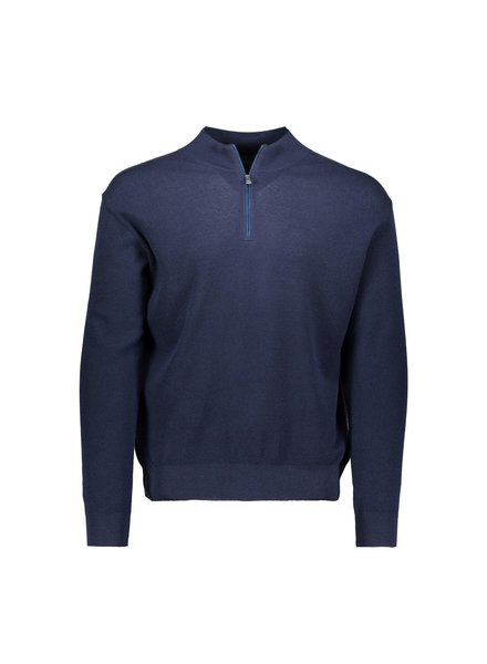 PAUL & SHARK Navy Knitted Zip Mockneck Sweater