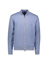 PAUL & SHARK Light Blue Full Zip with Suede Trim Cardigan
