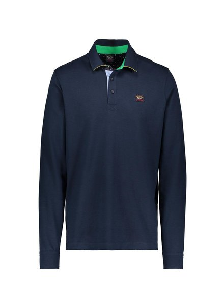 PAUL & SHARK Navy Pique Long Sleeve Polo